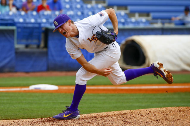 LSU pitcher Devin Fontenot throws the final pitch, striking out Florida's Wil Dalton during the seventh inning of a Southeastern Conference tournament NCAA college baseball game. Play resumed in the sixth inning after an overnight fog delay, Saturday, May 26, 2018, in Hoover, Ala. (AP Photo/Butch Dill)