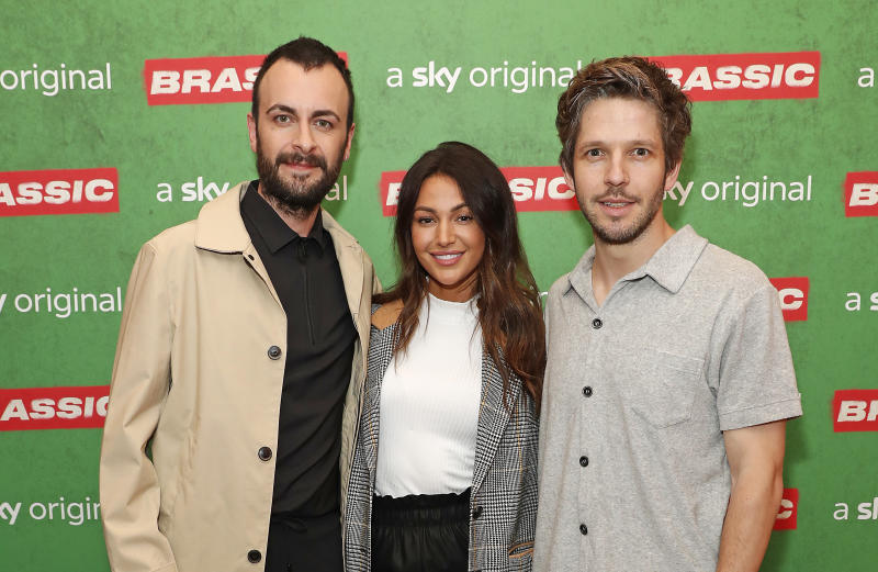 LONDON, ENGLAND - JULY 30: (L-R) Joseph Gilgun, Michelle Keegan and Damien Molony attend the preview of Sky original Brassic, all episodes of the comedy drama available August 22 on July 30, 2019 in London, England. (Photo by David M. Benett/Dave Benett/Getty Images for Sky)
