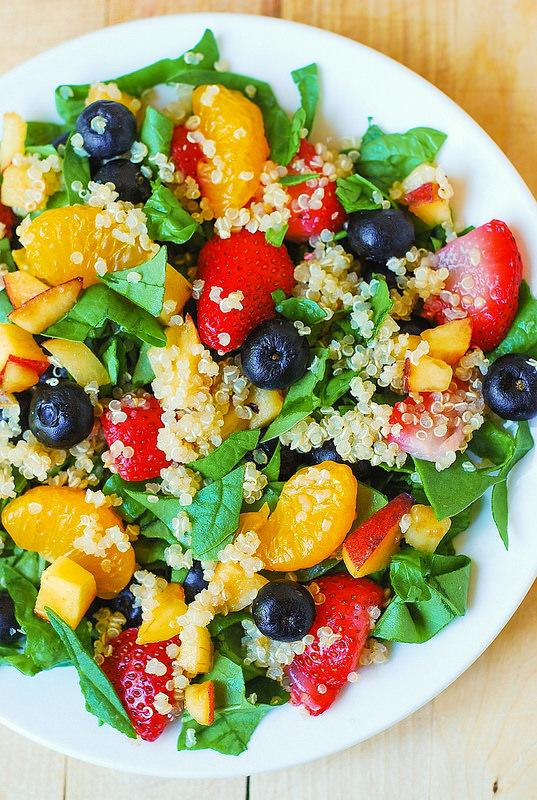 """<p>Want something light and perfect to get you ready for the summer months? <a rel=""""nofollow"""" href=""""http://juliasalbum.com/2014/06/quinoa-salad-with-spinach-strawberries-and-blueberries/"""">This salad</a> with spinach, quinoa, strawberries, peaches, blueberries and mandarin oranges is perfect!</p>"""