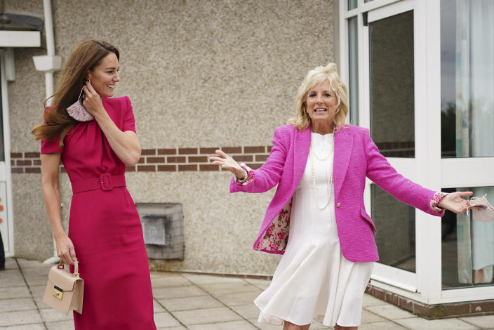 Britain's Kate, Duchess of Cambridge, center right, and US First Lady Jill Biden during a visit to Connor Downs Academy in Hayle, West Cornwall, during the G7 summit in England, Friday, June 11, 2021. (Aaron Chown/Pool photo via AP)
