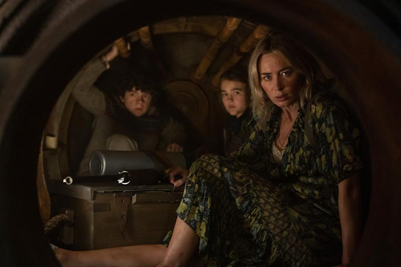 """Noah Jupe, from left, Millicent Simmonds and Emily Blunt in """"A Quiet Place Part II."""""""