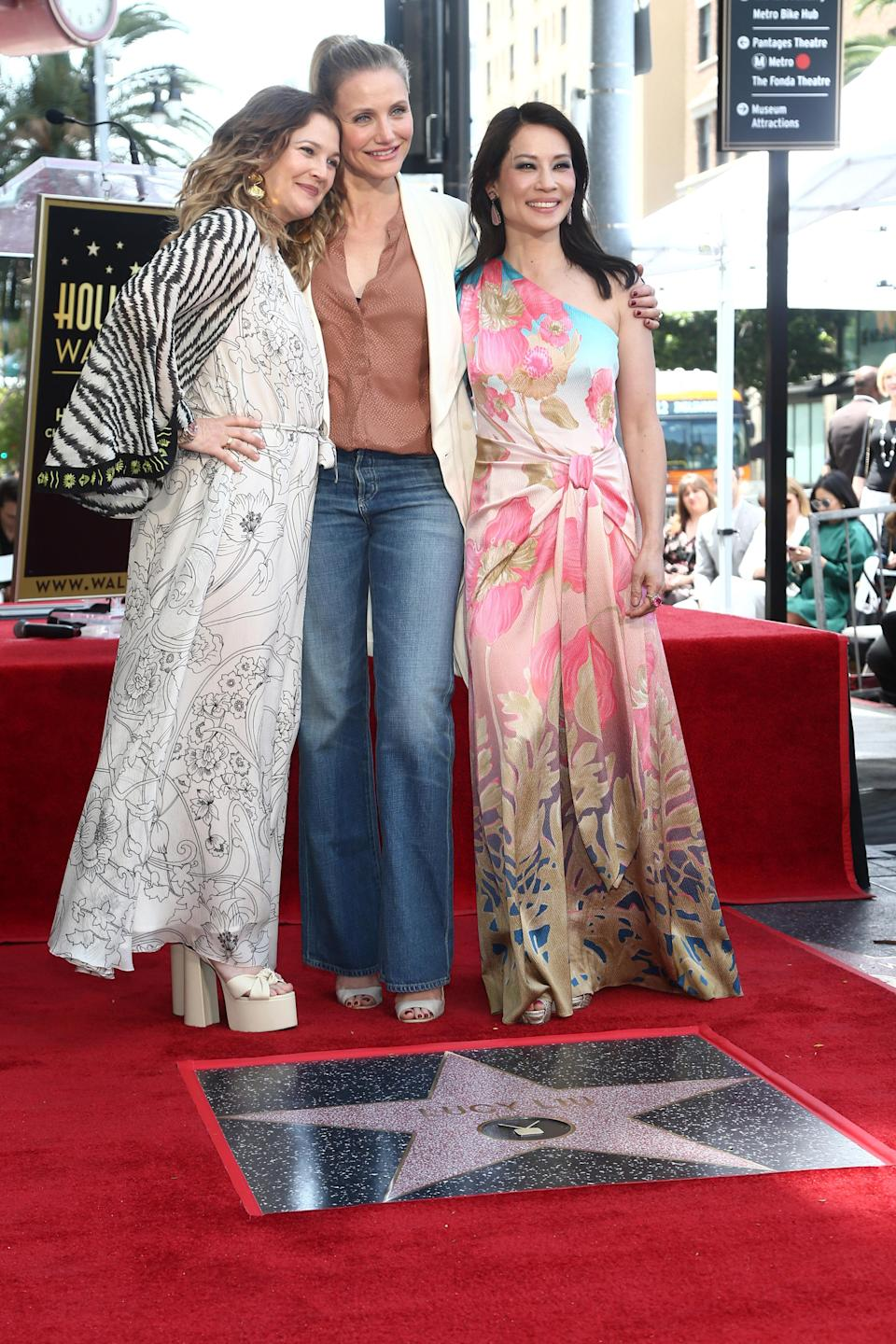 Drew Barrymore, Lucy Liu and Cameron Diaz attend a ceremony honoring Lucy Liu With Star On The Hollywood Walk Of Fame (Credit: Tommaso Boddi/WireImage)