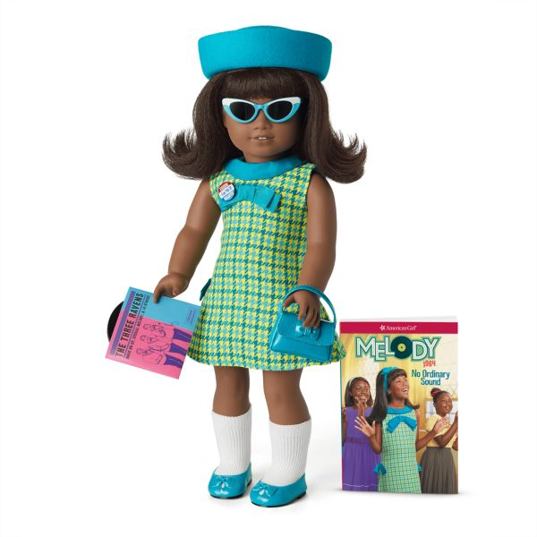 <p>One of only a handful of Black dolls in American Girl's historical line, Melody Ellison grew up in Detroit in the 1960s during the civil rights movement. Moving from her urban landscape to Alabama, Melody encounters a lot of racial prejudice and is afraid to go to church because of a bombing but finds inner strength in the face of injustice.<br></p>
