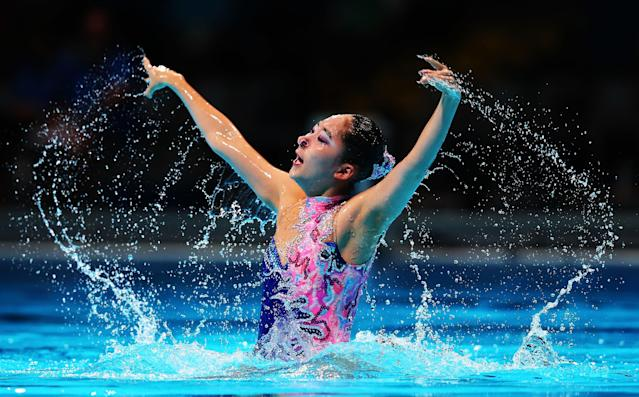 BARCELONA, SPAIN - JULY 20: Hyun Ji Lim of Korea competes in the Synchronized Swimming Solo Technical preliminary round on day one of the 15th FINA World Championships at Palau Sant Jordi on July 20, 2013 in Barcelona, Spain. (Photo by Quinn Rooney/Getty Images)