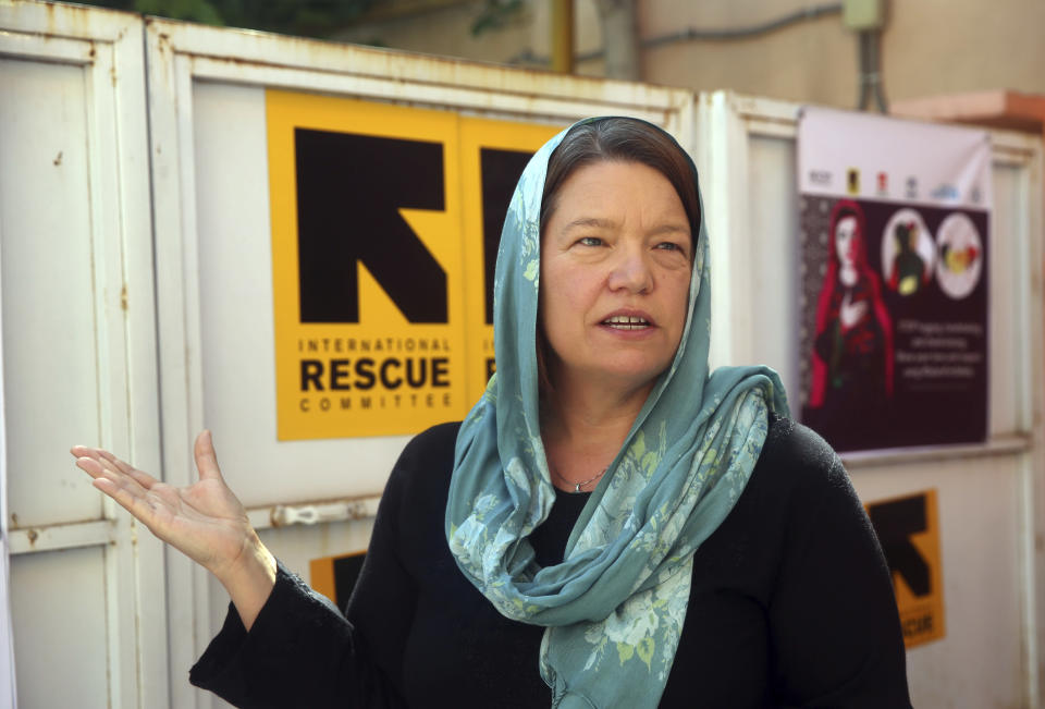 Vicki Aken, Afghanistan Country Director at the International Rescue Committee speaks during an interview in Kabul, Afghanistan, Tuesday, June 2, 2020. The IRC warned that Afghanistan is on a brink of a humanitarian disaster as the government is unable in testing at least 80 percent of potential cases of coronavirus. (AP Photo/Rahmat Gul)