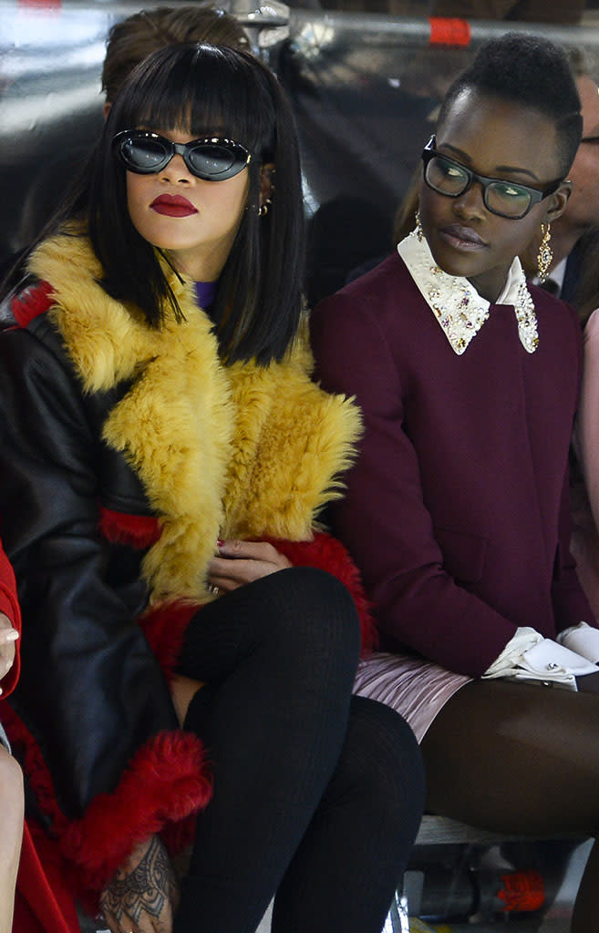 Rihanna, actresses Lupita Nyong'o and Elizabeth Olsen attend the Miu Miu show