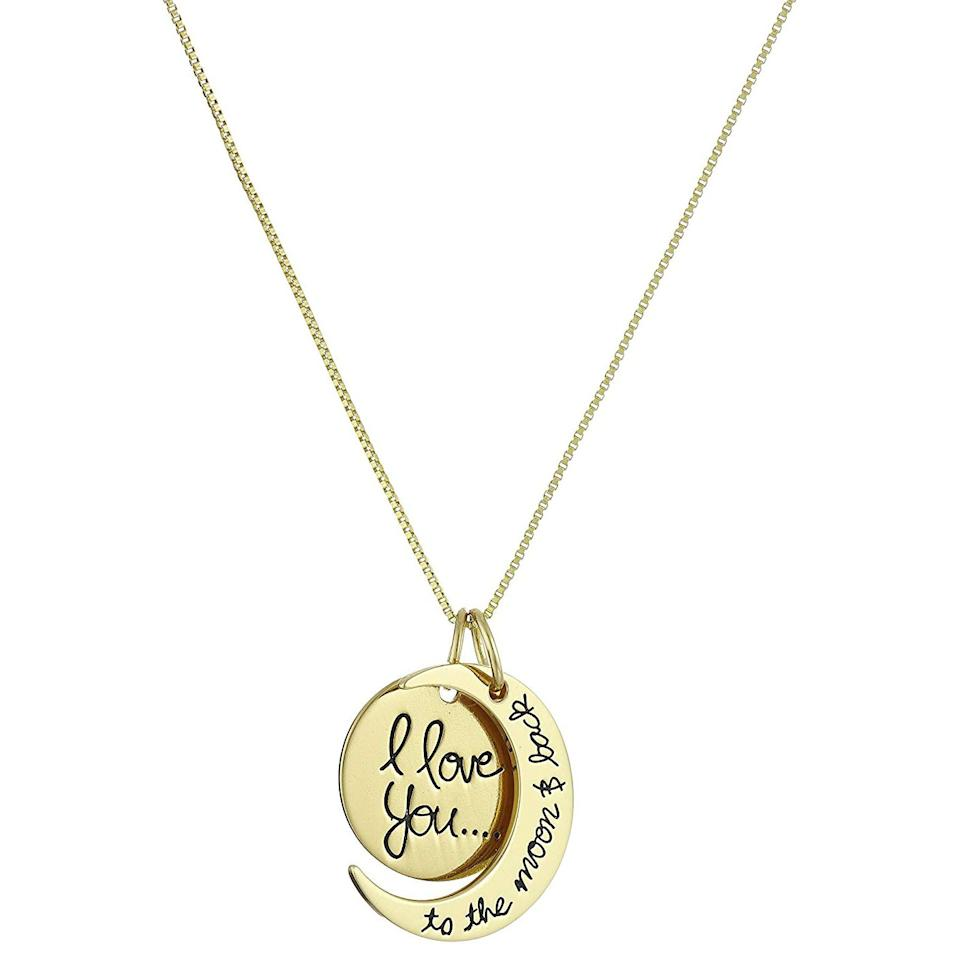 """<p>Whether it's your mom, sister, daughter, or best friend, just about anyone will appreciate this sweet and sentimental necklace that comes in three pretty finishes, including gold, rose gold and silver. </p> <p><strong>To buy:</strong> $29; <a href=""""https://www.amazon.com/Sterling-Yellow-Gold-Flashed-Pendant-Necklace/dp/B00HQAHLG8/ref=as_li_ss_tl?ie=UTF8&linkCode=ll1&tag=rsggamazongiftsjmattern1019-20&linkId=b816246d73a2fda3f8bf9e8fab66311c&language=en_US"""" target=""""_blank"""">amazon.com</a>.</p>"""