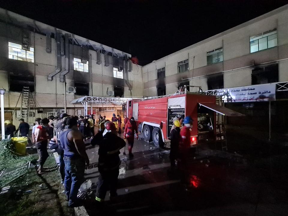 BAGHDAD, IRAQ - APRIL 24: A view of Ibn al-Hatip Hospital as fire erupts at the hospital where coronavirus patients were being treated in Baghdad, Iraq on April 24, 2021. Nearly 20 people died in a fire at a hospital where coronavirus patients were being treated in Baghdad, according to sources on Saturday. (Photo by Murtadha Al-Sudani/Anadolu Agency via Getty Images)