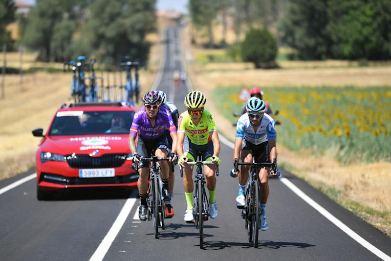 LAGUNAS DE NEILA SPAIN AUGUST 01 Angel Madrazo Ruiz of Spain and Team BurgosBH Arjen Livyns of Belgium and Team Bingoal WB Daniel Navarro Garcia of Spain and Team Israel StartUp Nation Breakaway during the 42nd Vuelta a Burgos 2020 Stage 5 a 158km stage from Covarrubias to Lagunas de Neila 1872m VueltaBurgos on August 01 2020 in Lagunas de Neila Spain Photo by David RamosGetty Images