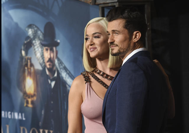 Orlando Bloom and Katy Perry at the premiere of Carnival Row in Los Angeles. (Chris Pizzello/Invision/AP)