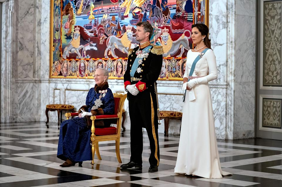 Danish Queen Margrethe II, Crown Prince Frederik and Crown Princess Mary attend a New Year Reception for the Diplomatic Corps at Christiansborg Castle in Copenhagen on January 2, 2020. (Photo by Keld Navntoft / Ritzau Scanpix / AFP) / Denmark OUT (Photo by KELD NAVNTOFT/Ritzau Scanpix/AFP via Getty Images)