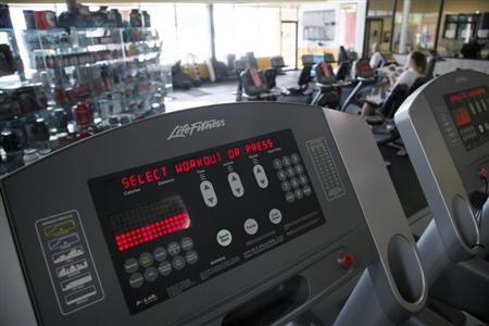 The controls for a treadmill at the Bally Total Fitness facility