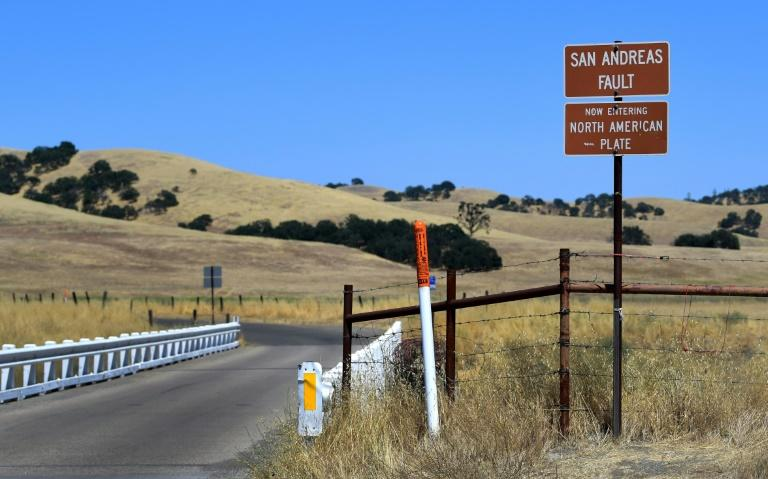 A bridge crosses over the San Andreas Fault from the Pacific to the North American tectonic plates near Parkfield, California on July 12, 2019 in a remote part of California but one of the most heavily studied quake areas in the world