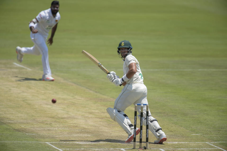 South Africa's Aiden Markram runs, on day two of the first cricket test match between South Africa and Sri Lanka at Super Sport Park Stadium in Pretoria, South Africa, Sunday, Dec. 27, 2020. (AP Photo/Catherine Kotze)