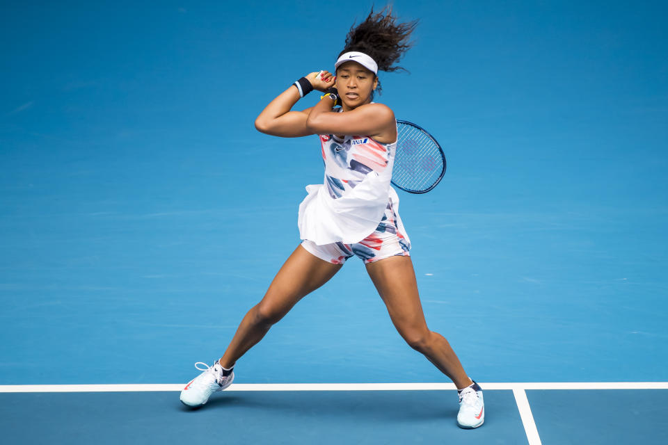 The outfit on Naomi Osaka's Barbie doll draws inspiration from her 2020 Australian Open ensemble. (Photo by Jason Heidrich/Icon Sportswire via Getty Images)