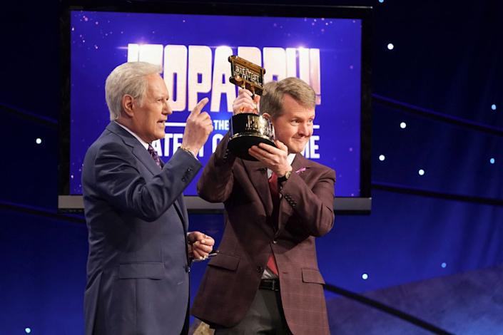 """Alex Trebek congratulates Ken Jennings on winning the """"Jeopardy! The Greatest of All Time"""" tournament in 2020. (Photo: Eric McCandless/ABC via Getty Images)"""
