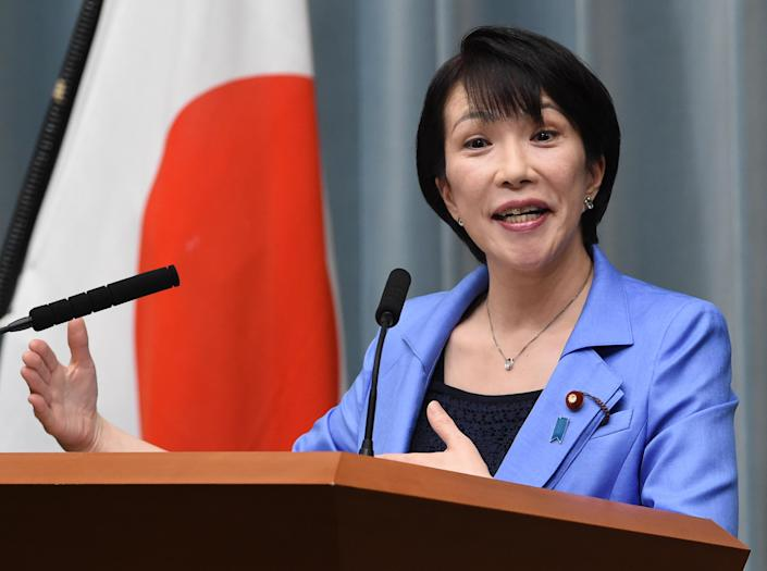 Sanae Takaichi, Internal Affairs and Communication Minister, at a press conferece at the prime minister's official residence in Tokyo on September 3, 2014 (AFP Photo/Toshifumi Kitamura)