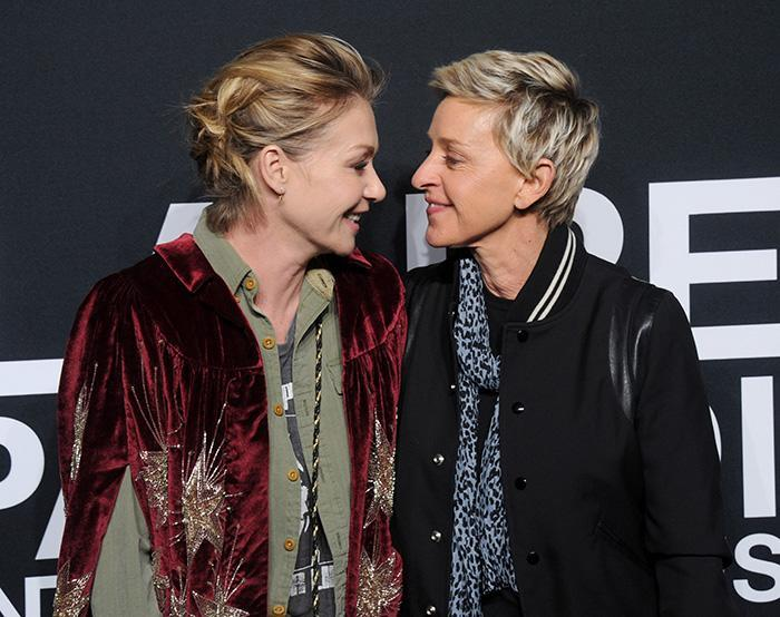 LOS ANGELES, CA - FEBRUARY 10: Actress Portia de Rossi and Ellen DeGeneres attend the Saint Laurent show at The Hollywood Palladium on February 10, 2016 in Los Angeles, California. (Photo by Gregg DeGuire/WireImage)