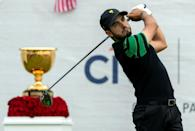 International team member Abraham Ancer of Mexico battled against Tiger Woods but was unable to recover (AFP Photo/SIMON BAKER)