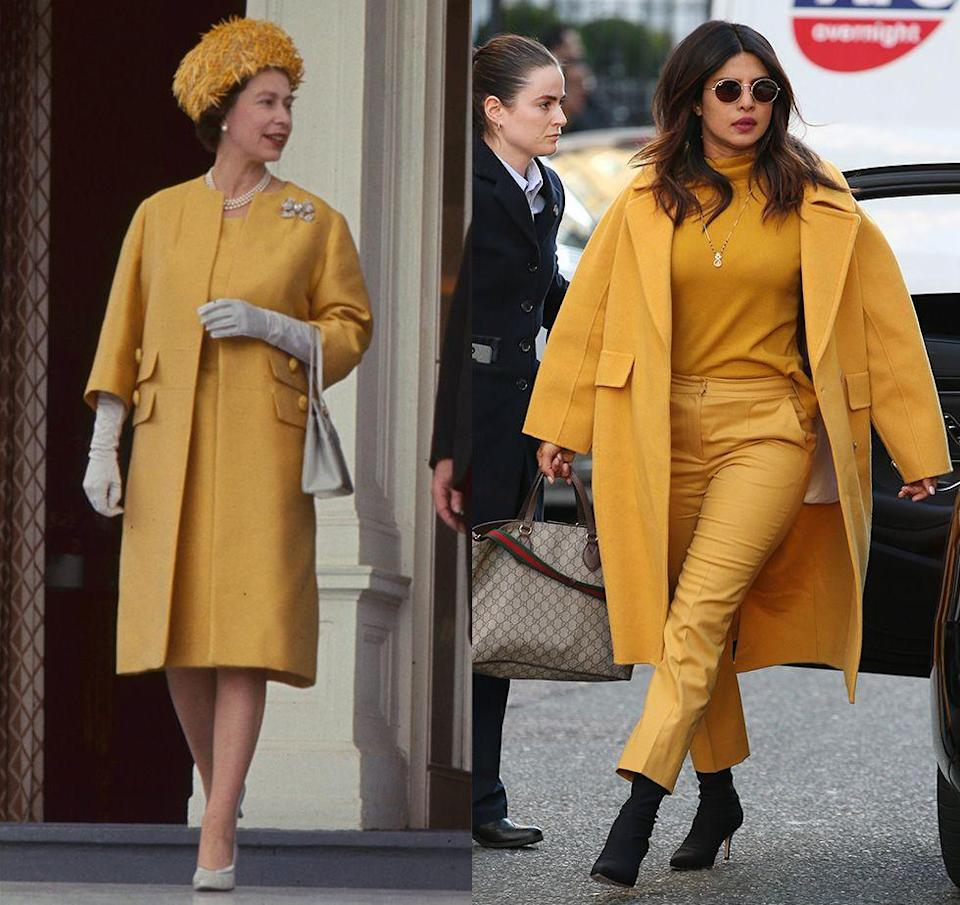 """<p>Another Queen Elizabeth ensemble, <a href=""""https://www.harpersbazaar.com/culture/features/g5584/queen-elizabeth-style/"""" rel=""""nofollow noopener"""" target=""""_blank"""" data-ylk=""""slk:another colorful monochrome set"""" class=""""link rapid-noclick-resp"""">another colorful monochrome set</a>. This time, it's a daring head-to-toe mustard look. Despite the Queen originally wearing the yellow look in 1965 on a trip to Germany, Priyanka Chopra proved that it still works, wearing something similar in London in 2019.</p>"""