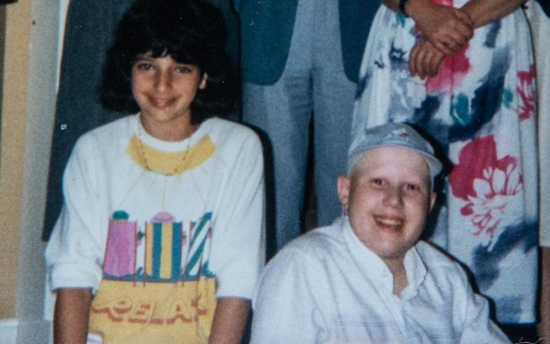 Matt Lucas, aged 12, with his childhood friend Karen Morris, who later died ofchronic myeloid leukaemia: 'Our friendship gained a new lease of life once we became teenagers' - Julian Andrews/Eye R8 Production