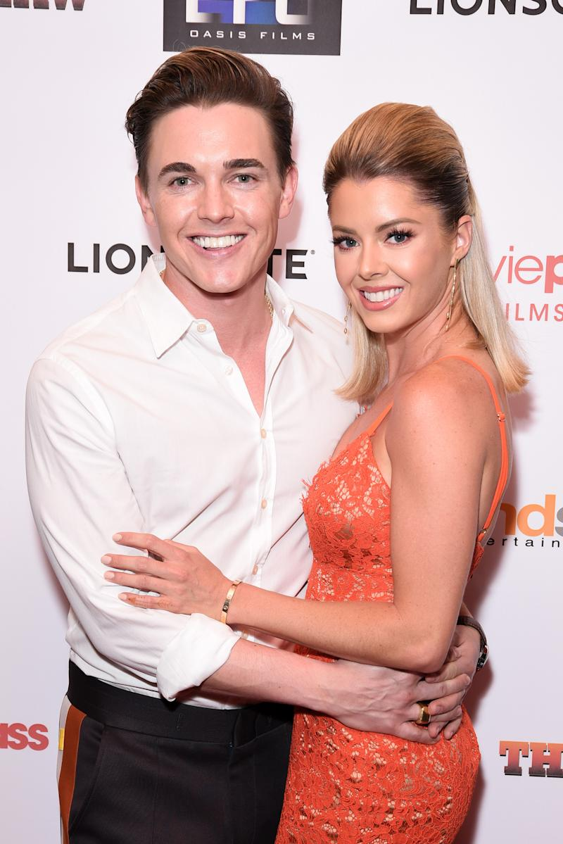 Jesse McCartney and his fiancé Katie Peterson on the red carpet.