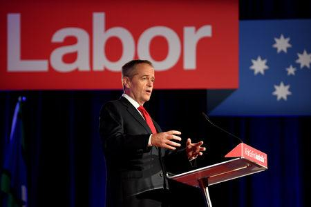 Australian Opposition Leader Bill Shorten delivers a speech at the Labor Party campaign launch for the 2019 Federal election at the Brisbane Convention Centre in Brisbane, Australia, May 5, 2019. AAP Image/Lukas Coch/via REUTERS