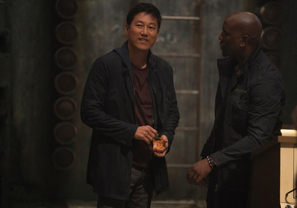 Han (Sung Kang) and Roman (Tyrese Gibson) in Fast & Furious 9. (PHOTO: United International Pictures)