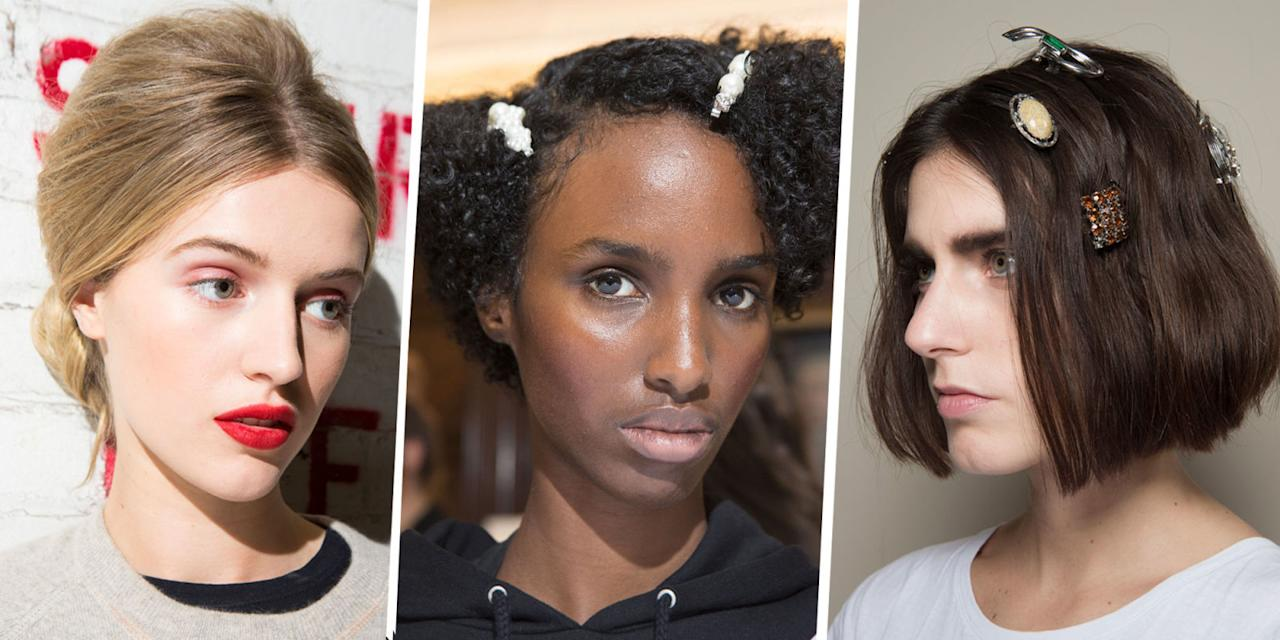 <p>Christmas hair doesn't have to be all big bouncy blowdries and Hollywood waves that take hours to achieve. Get yourself some high fashion but totally easy to do Christmas hairstyle ideas direct from the runways with our edit of the party looks you should be rocking this festive season. Simone Rocha pearl barrettes included.</p>