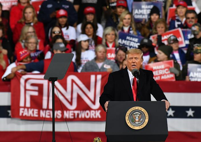 "President Donald J. Trump addresses the crowd at a ""Victory Rally"" with GOP Sens. David Perdue and Kelly Loeffler in Valdosta, GA. (Photo by Peter Zay/Anadolu Agency via Getty Images)"