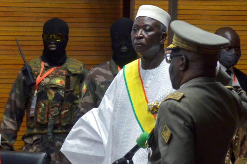 FILE PHOTO: The new interim president of Mali Bah Ndaw is sworn in during the Inauguration ceremony in Bamako