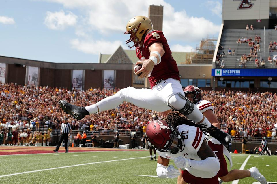Boston College tight end Trae Barry (3) hurdles a Colgate defender for a touchdown Sept. 4.