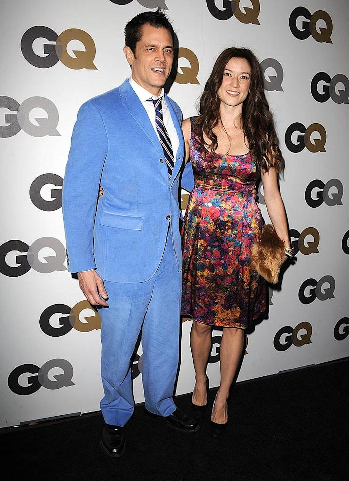 """Jackass"" creator Johnny Knoxville made the scene with his wife of almost two months, Naomi Nelson, in powder blue corduroy. Is his look hot ... or not? Steve Granitz/<a href=""http://www.wireimage.com"" target=""new"">WireImage.com</a> - November 17, 2010"