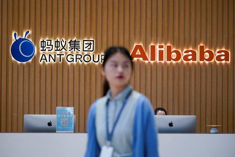 Logos of Ant Group and Alibaba at the headquarters of Ant Group in the Zhejiang provincial capital of Hangzhou on October 29, 2020. Photo: Reuters