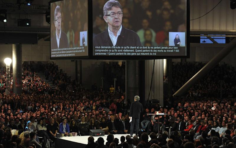 Jean-Luc Melenchon at presidential campaign meeting, Grand Palais, Lille. - Credit: ALCALAY/SIPA/REX/Shutterstock