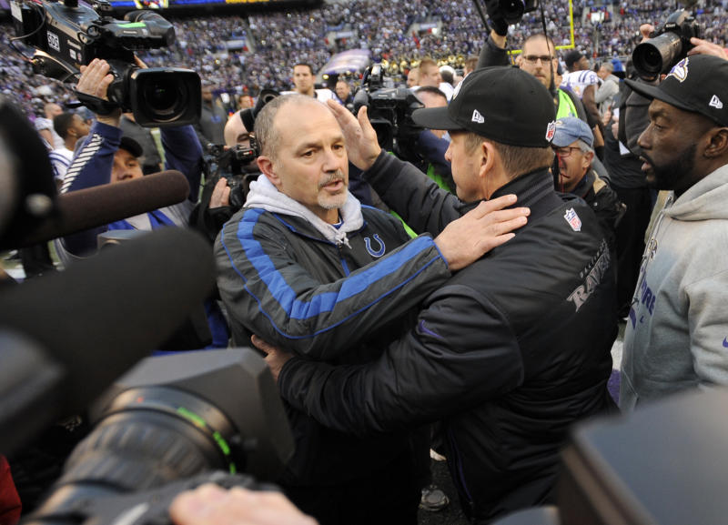 Indianapolis Colts head coach Chuck Pagano and Baltimore Ravens head coach John Harbaugh meet at mid-field after an NFL wild card playoff football game Sunday, Jan. 6, 2013, in Baltimore. The Ravens won 24-9. (AP Photo/Nick Wass)