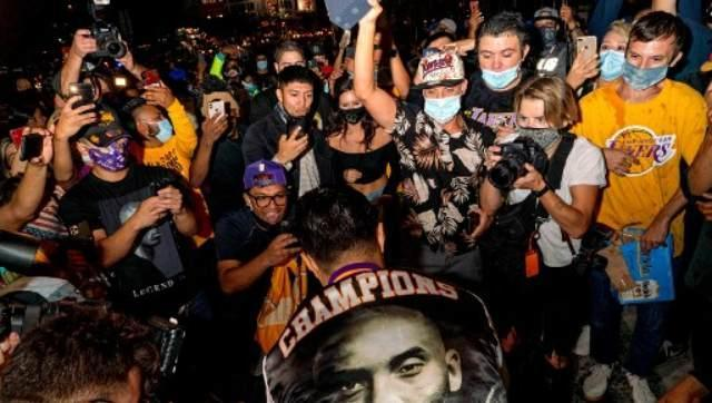 """ What started out as a largely peaceful celebration of the Los Angeles Lakers NBA championship in downtown Los Angeles, turned into confrontational, violent and destructive behavior late last night,"" the LAPD said via a statement. AFP"
