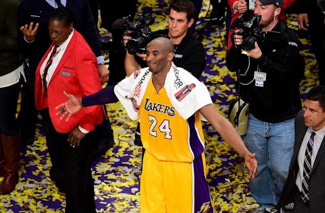 The towel Kobe Bryant wore after his final game, as well as game tickets, went for more than $30,000 at auction. (Frederic J. Brown/AFP via Getty Images)