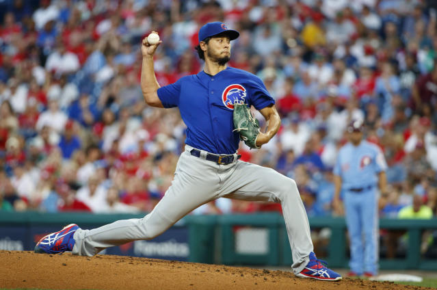 Chicago Cubs starting pitcher Yu Darvish throws during the second inning of a baseball game against the Philadelphia Phillies, Thursday, Aug. 15, 2019, in Philadelphia. (AP Photo/Chris Szagola)