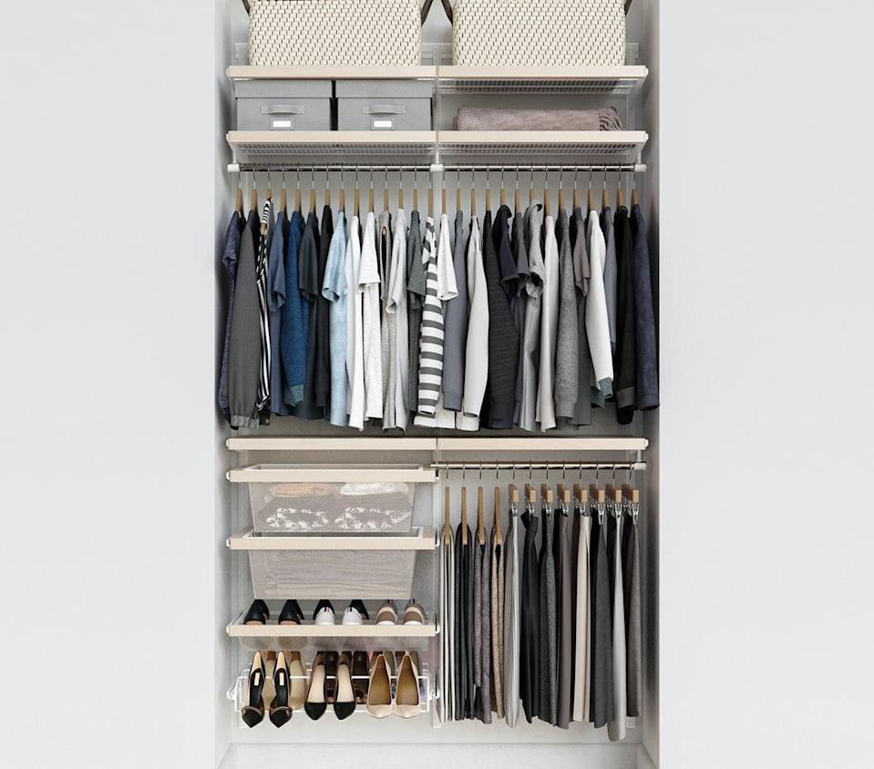 <p>The <span>Birch &amp; White Elfa Décor 4' Closet</span> ($896) comes with drawers, shoe shelves, and more.</p>
