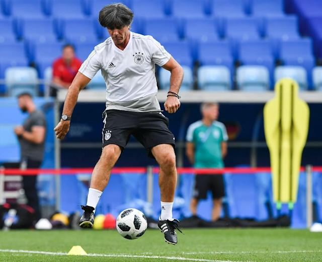 Joachim Loew at Germany's training session in Sochi ahead of the World Cup holders' clash with Sweden (AFP Photo/Nelson Almeida)