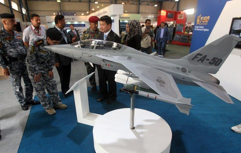 A FA-50 fighter jet model at Baghdad's International Fair for Defence and Security on April 15, 2012