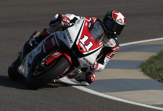 INDIANAPOLIS, IN - AUGUST 27: Ben Spies #11 of the USA in action during Moto GP practice at Indianapolis Motorspeedway on August 27, 2011 in Indianapolis, Indiana. (Photo by Jamie Squire/Getty Images)