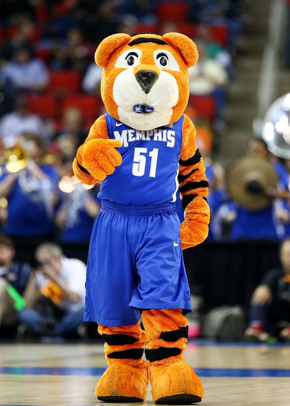 RALEIGH, NC - MARCH 21:  Memphis Tigers mascot, Pouncer, performs in the first half against the George Washington Colonials during the Second Round of the 2014 NCAA Basketball Tournament at PNC Arena on March 21, 2014 in Raleigh, North Carolina.  (Photo by Streeter Lecka/Getty Images)