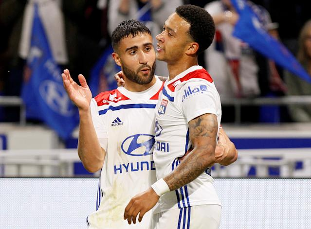 Soccer Football - Ligue 1 - Olympique Lyonnais vs OGC Nice - Groupama Stadium, Lyon, France - May 19, 2018 Lyon's Memphis Depay celebrates scoring their second goal with Nabil Fekir REUTERS/Emmanuel Foudrot