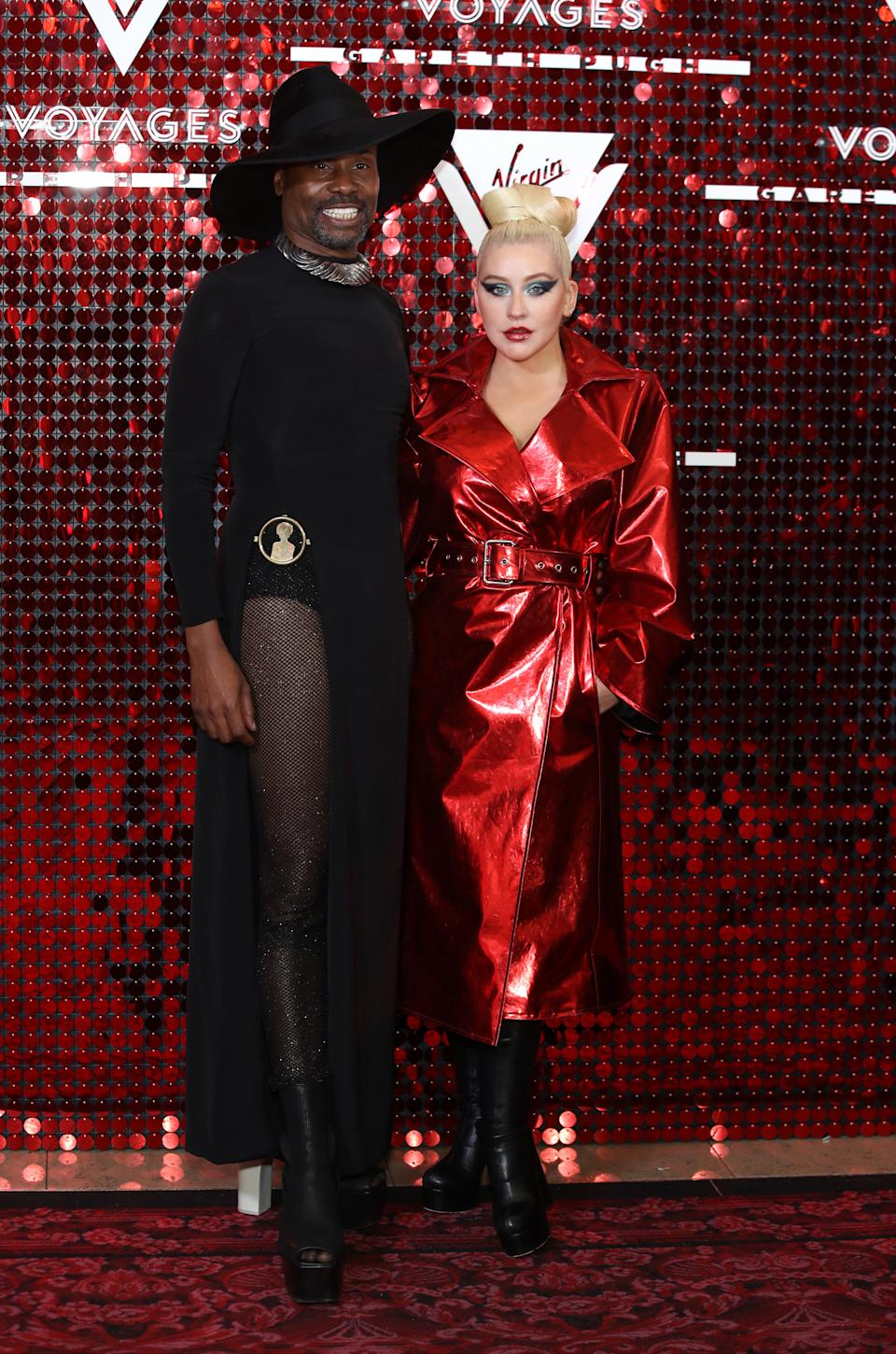 Billy Porter and Christina Aguilera attended the launch of Sir Richard Branson and Gareth Pugh's Virgin Cruise capsule collection on Sunday night [Photo: Getty Images]