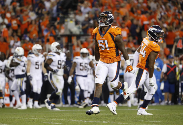 Denver Broncos linebacker Todd Davis celebrates his fourth-down stop against the Los Angeles Chargers. (AP)
