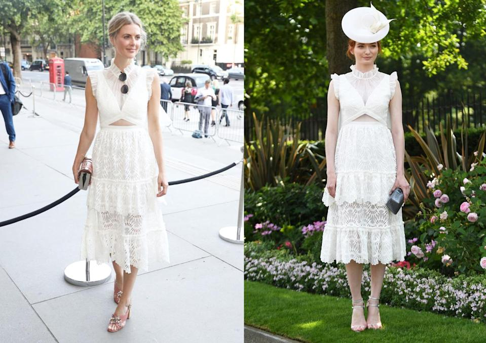 "<p>Donna Air, James Middleton's girlfriend, and Eleanor Tomlinson, of 'Poldark' fame, wore the same <a href=""https://www.threefloorfashion.com/dresses/show/all.html"" rel=""nofollow noopener"" target=""_blank"" data-ylk=""slk:Three Floor"" class=""link rapid-noclick-resp"">Three Floor </a>dress on the same day. Donna wore the white, lace number to the V&A Summer Party while Eleanor debuted her dress on day two of Royal Ascot 2017. Both ladies looked lovely in the frock - which can be yours for £410. <i>[Photos: PA]</i></p>"