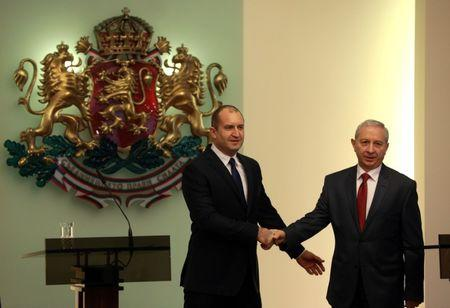 Bulgaria's President Radev poses for a picture with the interim Prime Minister Gerdzhikov during an official ceremony in Sofia
