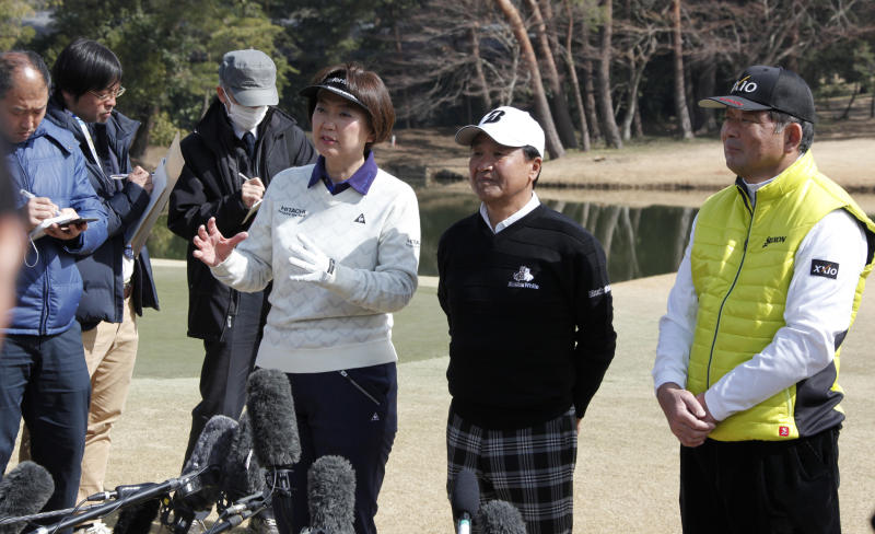 "Japanese golf player Hiromi Kobayashi, third right, speaks to journalists as another golf players Masahiro Kuramoto, second right, and Tsuneyuki Nakajima, right, listen during a media tour of Kasumigaseki Country Club golf course, one of the venues of the Tokyo 2020 Olympics, in Kawagoe, near Tokyo , Monday, Feb. 25, 2019. Kobayashi was the LPGA's rookie of the year in 1990 and she knows Japan faces high expectations. She says ""as a player I was representing myself. But this is a different kind of pressure"" for the country and its golfing community. (AP Photo/Koji Sasahara)"